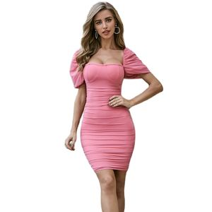 2020 New Summer Women Bodycon Bandage Dress Sexy Short Sleeve Club Dress Midi Celebrity Party Dress
