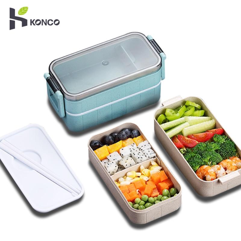 Konco japonés Bento microondas caja de paja de trigo caja para almuerzo de niños a prueba de fugas Bento fiambrera para niños bolso para guardar comida