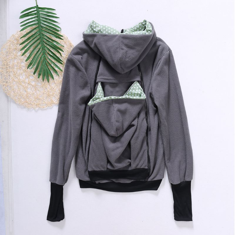 Hands Free Parenting Child Woman Kangaroo Hoodies with Baby Carrier Winter Pregnant Sweatshirts with Parent Child