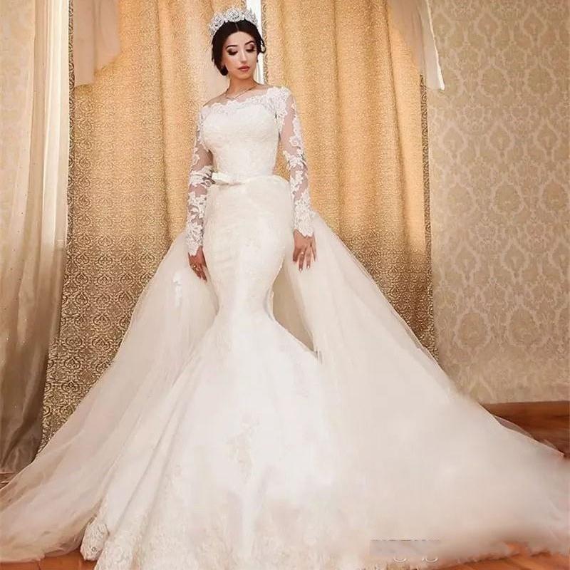Precioso tren desmontable vestidos de novia encaje mangas largas sirena vestidos de novia sin hombro vestido de novia Dubái robe soiree du