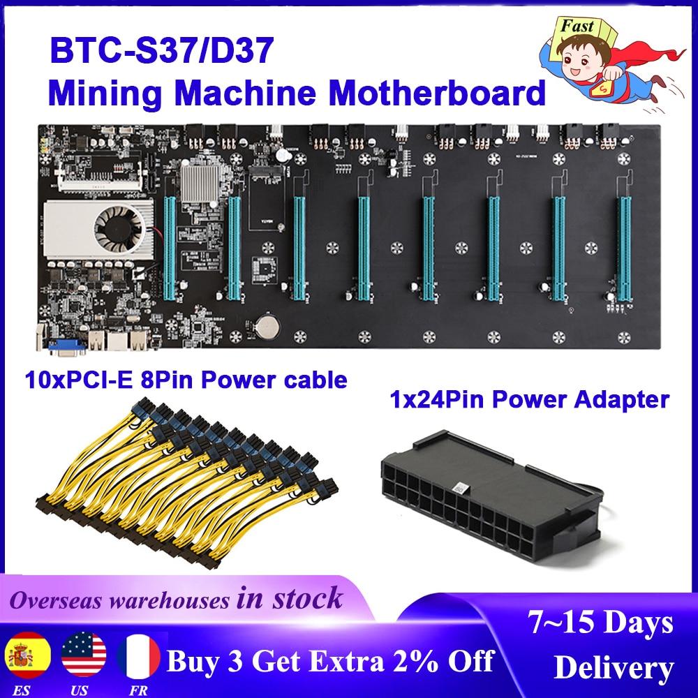 BTC-D37/BTC-S37 التعدين اللوحة وحدة المعالجة المركزية مجموعة 8 بطاقة جرافيكس فتحة 24Pin محول الطاقة 8Pin PCIE إلى المزدوج 8 (6 + 2) دبوس كابل الطاقة