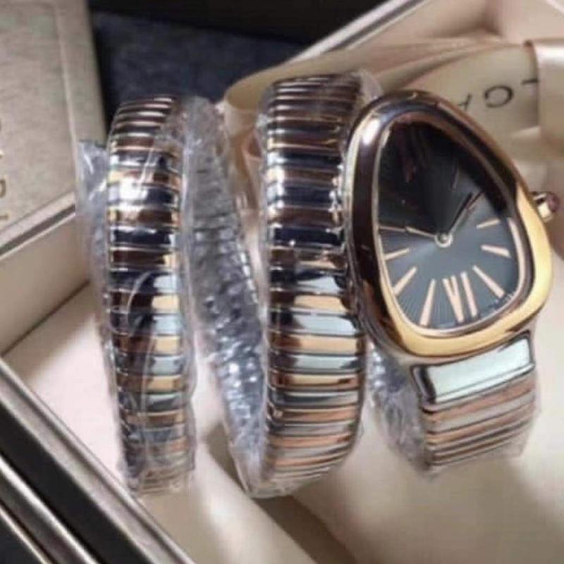2021 New Women Watch Snake Bangle Silver Rose Gold Long Bracelet White Rome Japanese Quartz Stainless Steel Sapphire Wristwatch