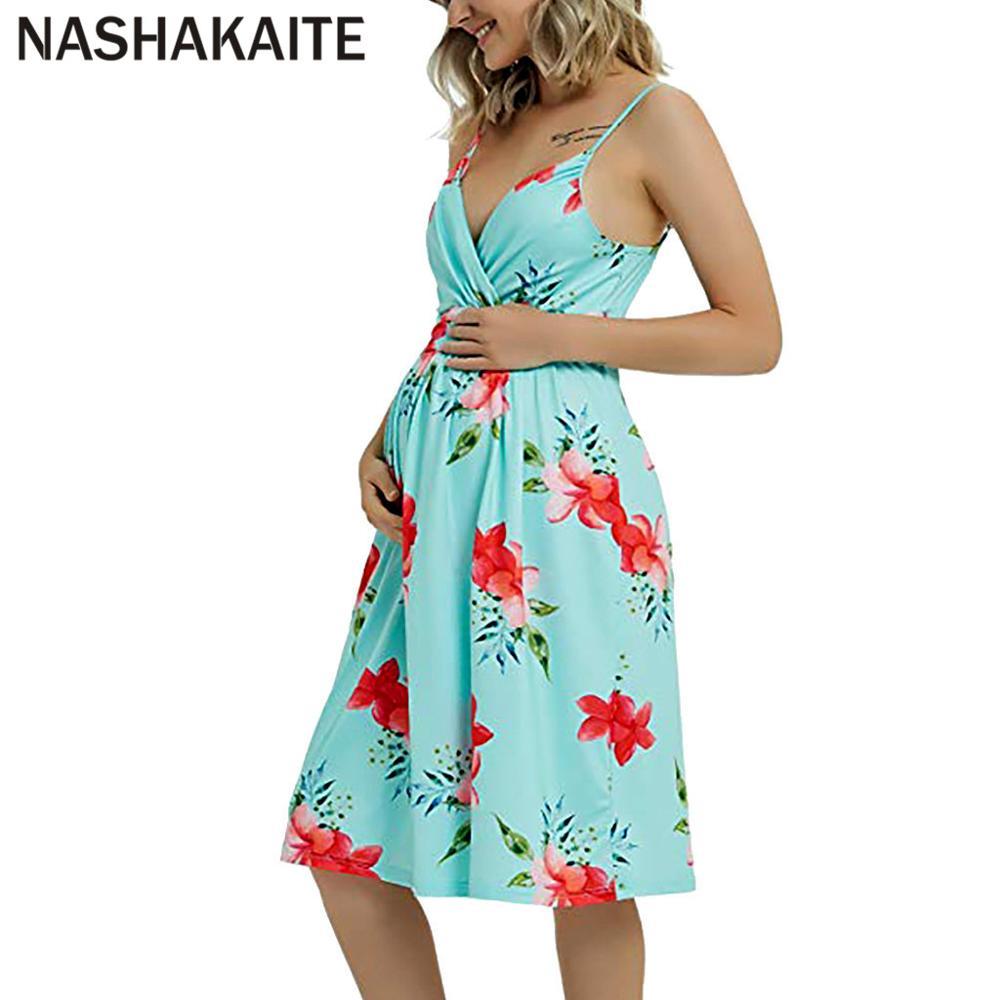 NASHAKAITE-Vestido Premamá de verano, para mujer, con escote en V profundo, sin mangas, Espalda descubierta, ropa de maternidad