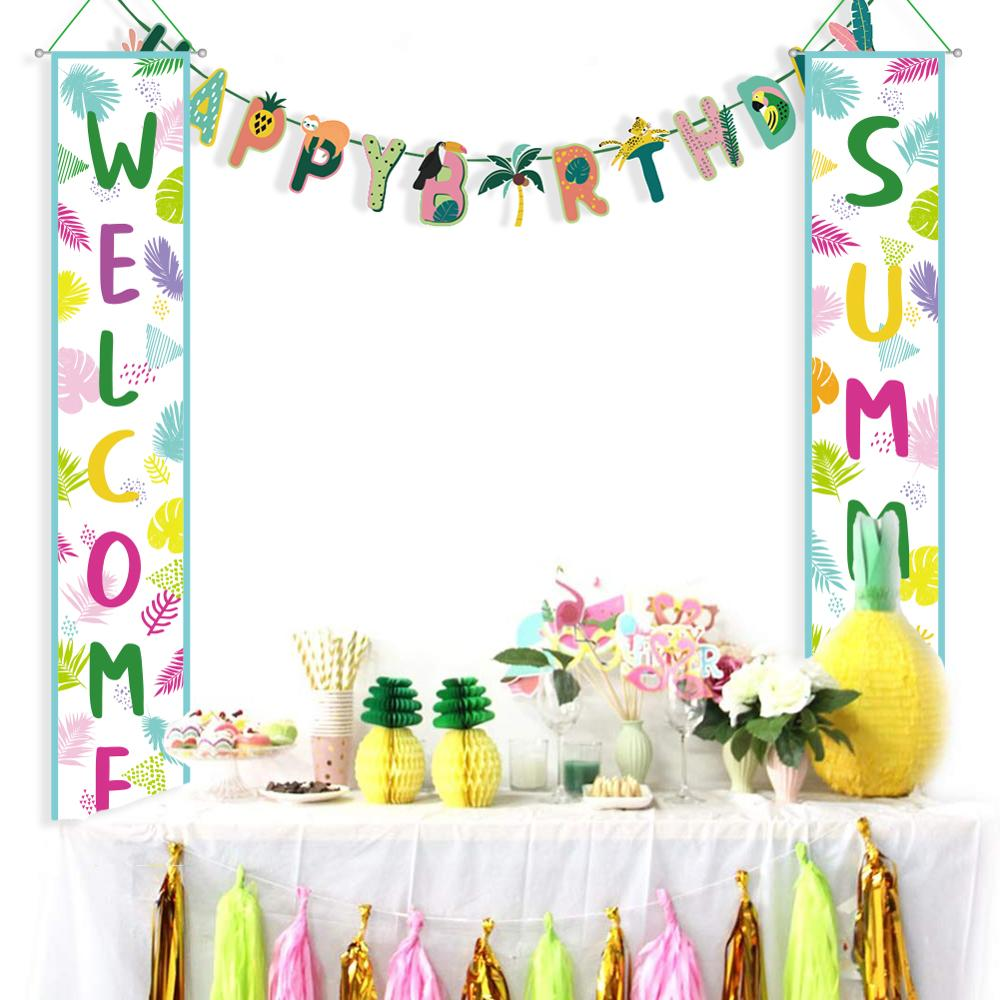 Hawaiian Party Decorations Welcome Summer Party Door Porch Hanging Banner Tropical Luau Birthday Party Supplies