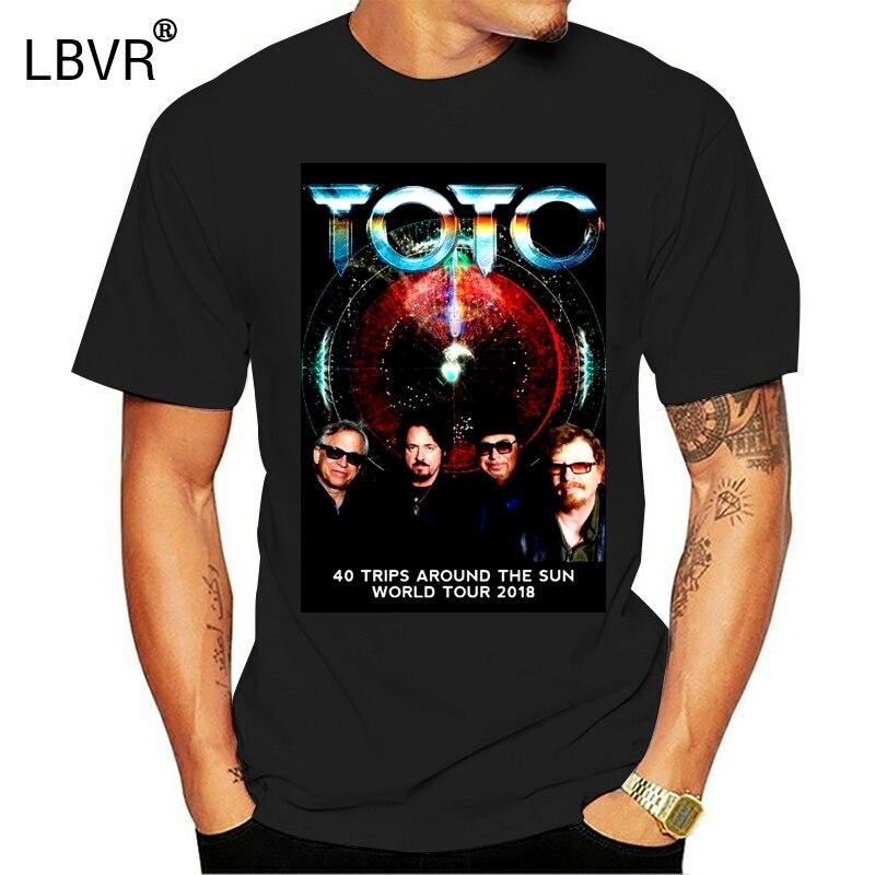 TOTO Band 40 Trips Around The Sun World Tour 2018 T-Shirt Men's Black Size S-3XL Summer Short Sleeves T Shirt Fashion
