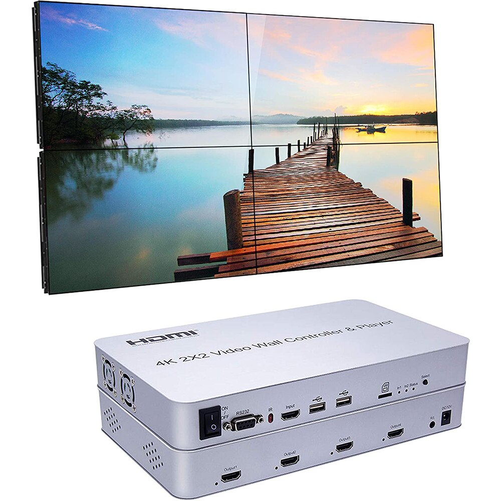 New 2x2 Video Wall Controller with Media PlayerCompliant  8 Display Modes - 2x2, 1x2, 1x3, 1x4, 2x1, 3x1, 4x1stand by DVI or HDM
