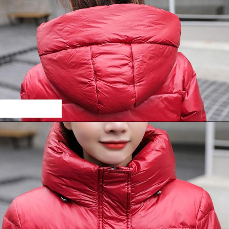 Женская куртка на белом утином пуху, Толстая теплая парка с капюшоном, зимний пуховик, 2020