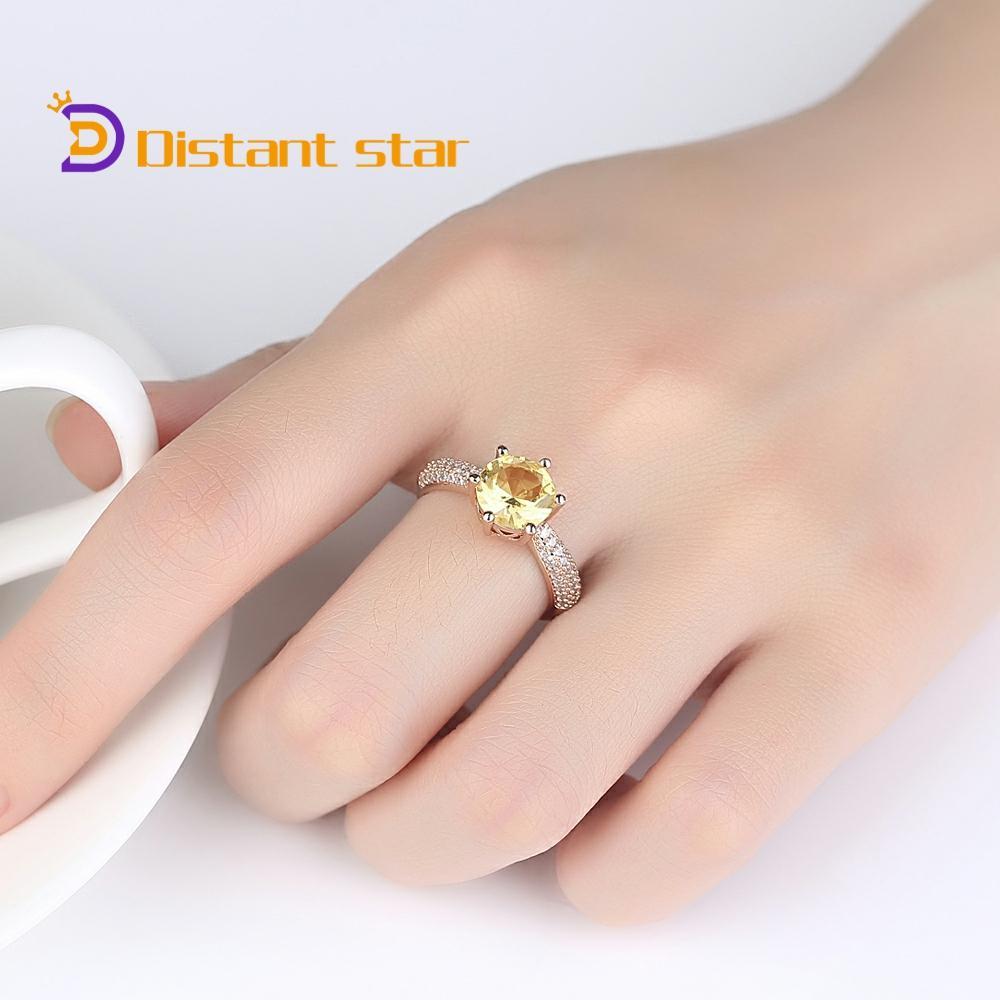 Anillo de cristal amarillo, anillos de acero inoxidable para joyería de oro de mujeres, anillos de boda Vintage a la moda para mujer, anillo al por mayor