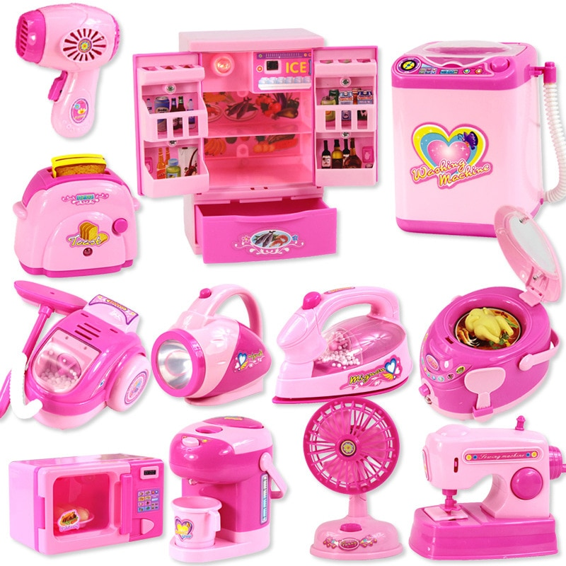 Pretend Play Mini Kitchen Toys Household Appliances Light-Up & Sound Blender Cooker Accessories Toy