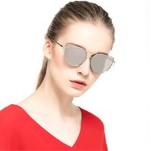 XaYbZc 2021 Brand Designer Cat eye Sunglasses Women Vintage Metal Reflective Glasses For Women Mirro