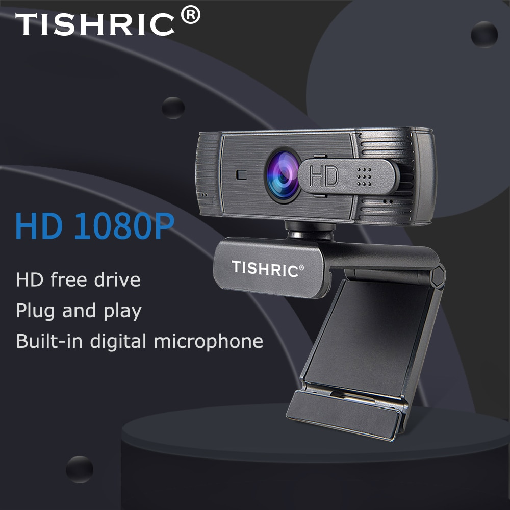 TISHRIC-كاميرا ويب عالية الدقة بالكامل ، T200 ، 1080 بكسل ، غطاء USB ، مع ميكروفون ، للكمبيوتر الشخصي ، كاميرا ويب صغيرة مع تركيز تلقائي