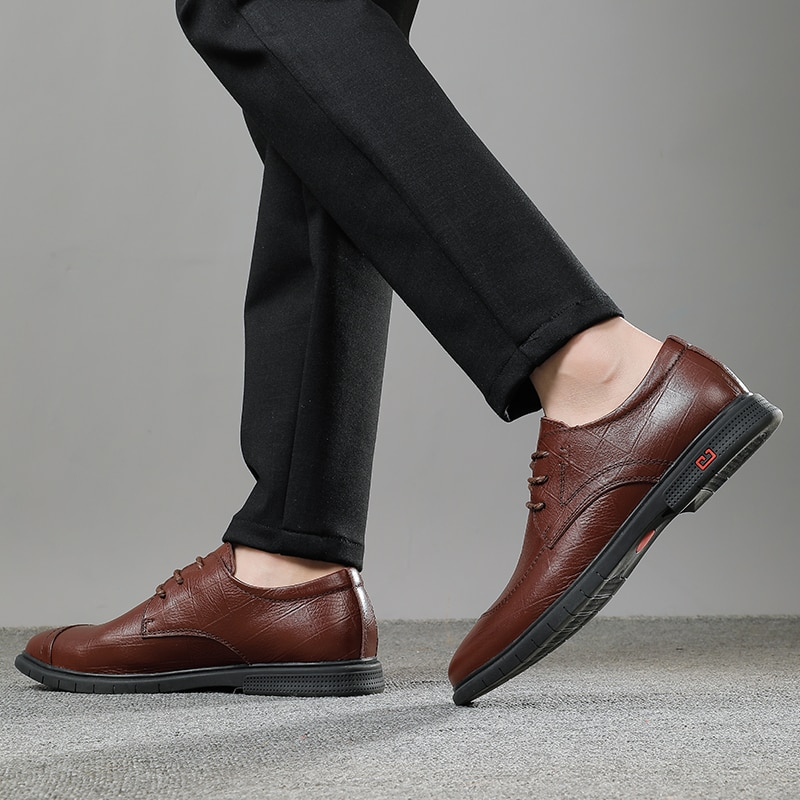 2021 Styele Fashion Men's Shoes Derby Genuine Leather Male Classic Brown Black Lace Up Shoe Man Work Office Formal Shoes For Men