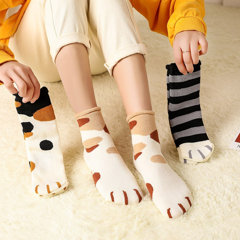 6 Pairs Happy Gift Casual Socks For Women Funny Cartoon Cute Cat Paw Socks Harajuku Pack Ladies Wint