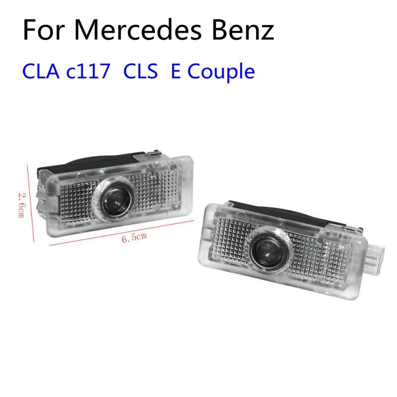 2 pçs led luz da porta do carro projetor laser logotipo luz de boas-vindas para mercedes benz cla amg c117 cls w218 x218 w117 a207 c207 e casal