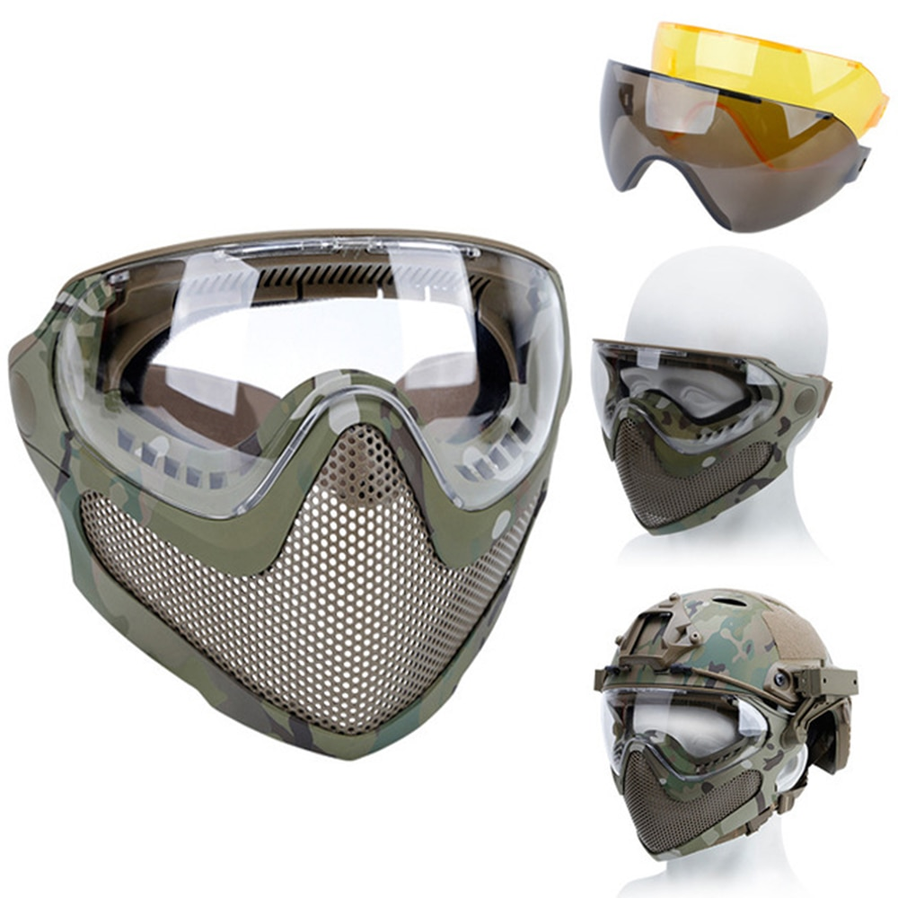 Airsoft Protective Mask Anti-Fog Goggle Full Face Helmet Mask With Black/Yellow/Lens Tactical CS Shooting Paintball Accessories airsoft paintball tactical helmet protective fast helmet abs tactical mask with goggles cs equipment