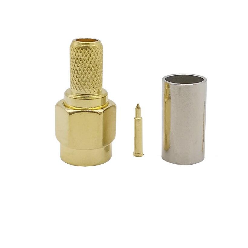 موصل تجعيد ذكر SMA نحاسي مطلي بالذهب ، 100 قطعة ، للكابل المحوري RG58 LMR195 RG142 RG400