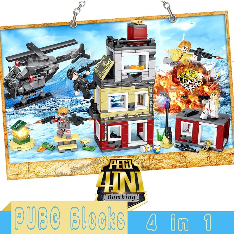 PUBG Winner Winner Chicken Dinner Building Blocks Bricks Military Weapon Soldiers Sets Figures Educational Kids Toys Gifts Kits