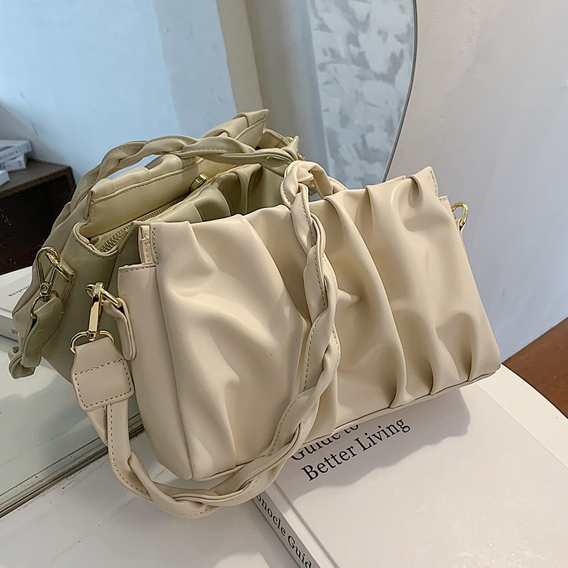 Folds Designer PU Leather Crossbody Bags For Women 2020 Solid Color Shoulder Handbags Female Trend Women's Branded Hand Bag