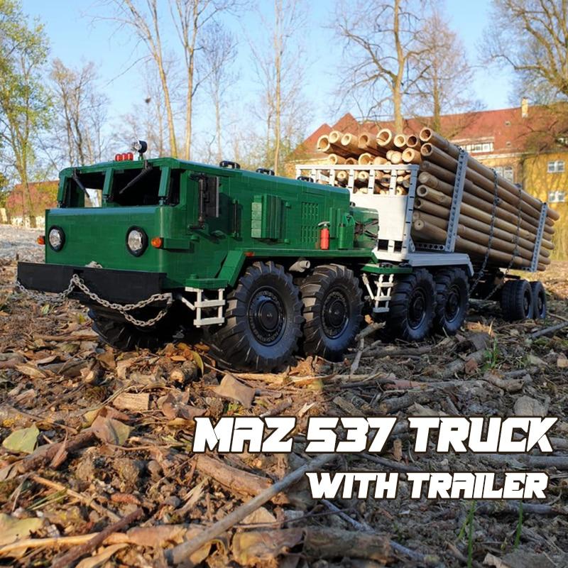 MOC لبنات البناء ماز 537 شاحنة مع مقطورة لتقوم بها بنفسك نموذج تعليمي الطوب الهدايا