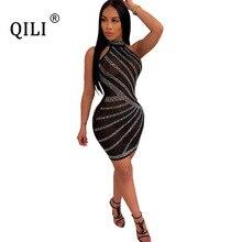 QILI Women Kiamonds Dress Sexy Sleeveless Stand Neck See Through Mesh Rhinestone Dresses Mini Party Club Dress