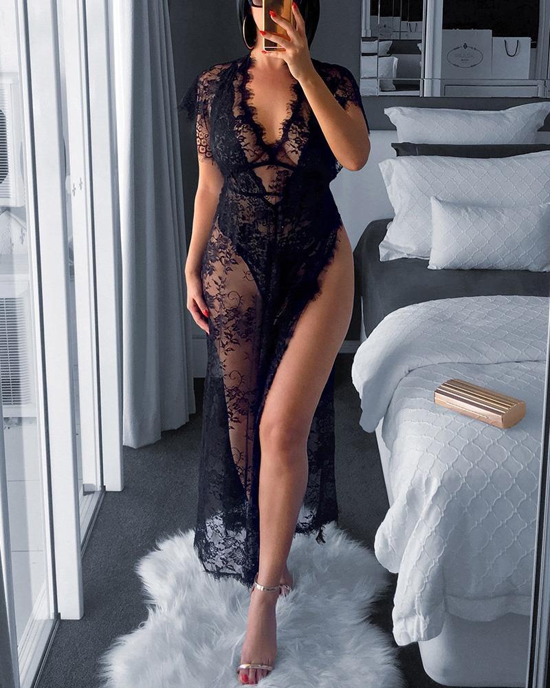 Фото - 2021 Цветочная кружевная ночная рубашка с вырезами, женская ночная сорочка ночная рубашка, нижнее белье, платье на тонких бретелях, спальное п... рубашка la redoute ночная на тонких бретелях с кружевными вставками 48 fr 54 rus черный