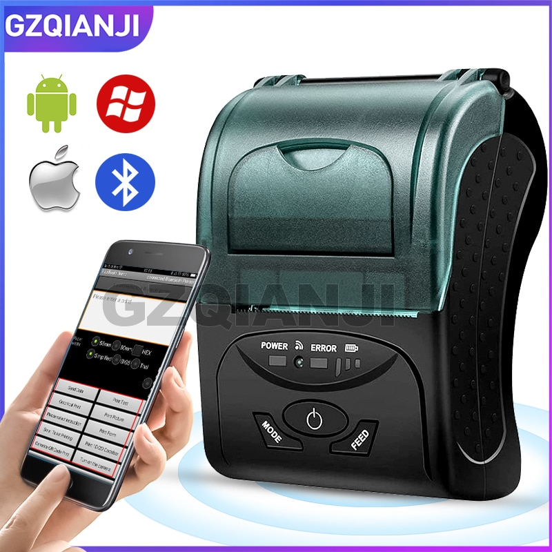 Portátil móvel mini impressora 58mm térmica bluetooth recibo impressora compatível loyverse pos android ios caixa bill impressora