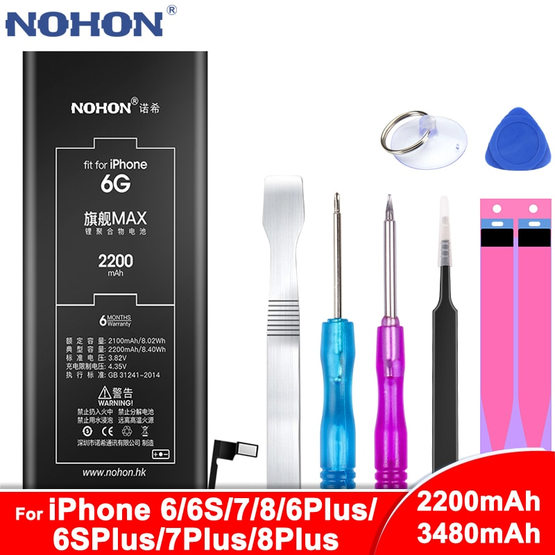 NOHON аккумулятор для iPhone 6, 6 S, 7, 8 Plus, 6 Plus, 6S Plus, 7 Plus, 8 Plus, Сменный аккумулятор для телефона, для iPhone6, iPhone6S, iPhone7, iPhone8