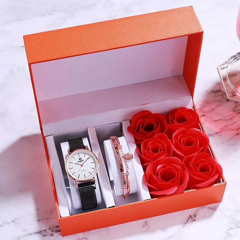Fashion Gift Watch Lover Confession Rose Flower Bracelet Wrist Watches Box Set Valentine's Day Wife