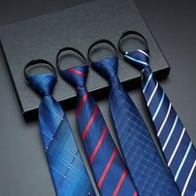 Pre-tied Neck Tie Men Boy Zipper Ties Striped Ties Lazy ties Fashion Casual Ties 8cm