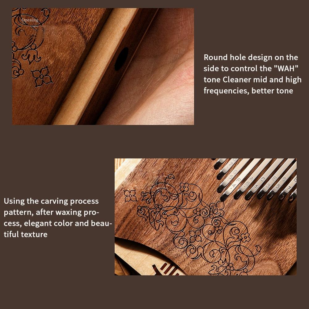 21 Key Kalimba Thumb Piano Professional performance Sandalwood Mineral Keys Pickup Storage Bag Tuning Hammer Musical Instruments enlarge