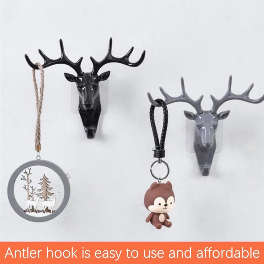 Wall hanging antler hook creative deer head wall seamless key bag hook antler horn hanger wall decoration Dropshipping