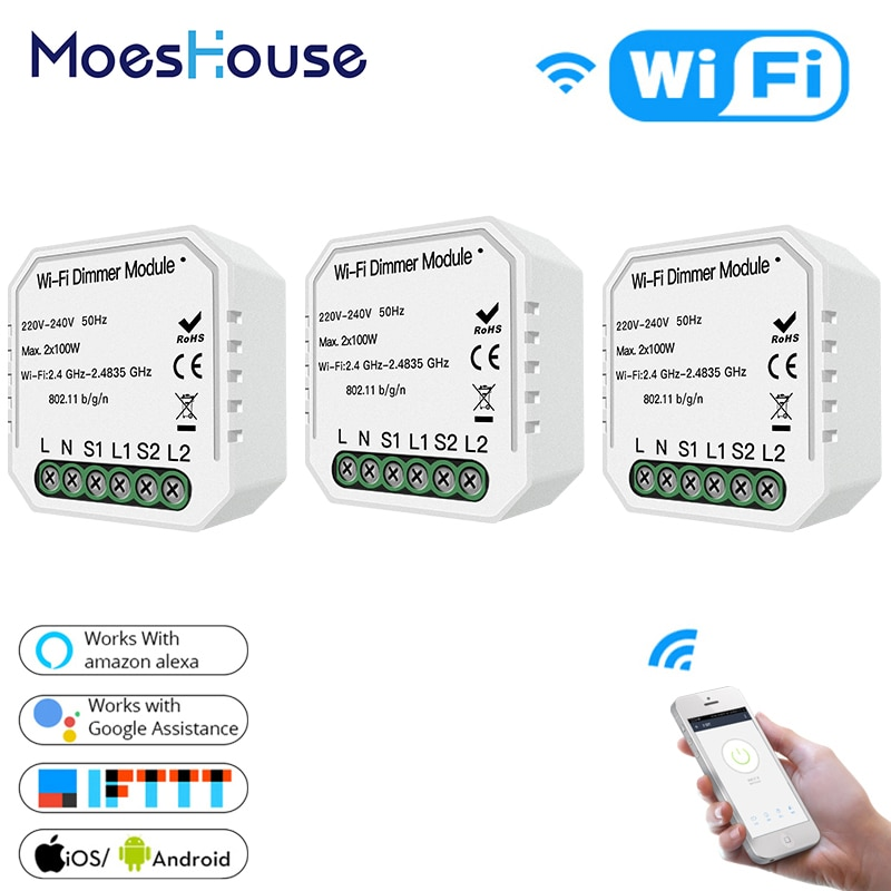 2 Way 2 Gang DIY WiFi Smart Light LED Dimmer Module Switch Smart Life/Tuya APP Remote Control Work with Alexa Google Home