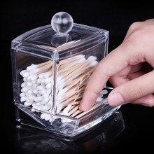 1 sztuk puste jasne schowek akrylowy pojemnik na pudełko przezroczyste bawełniane patyczki kosmetyczne kosmetyczne organizator na przybory do makijażu na bawełnę kosmetyczną gniazdo