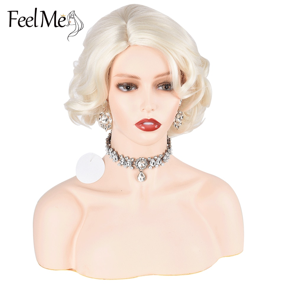 FeelMe Marilyn Monroe Party Wig Short Blonde Synthetic Curly Cosplay Classic Wigs For Women Natural High Temperature Fiber