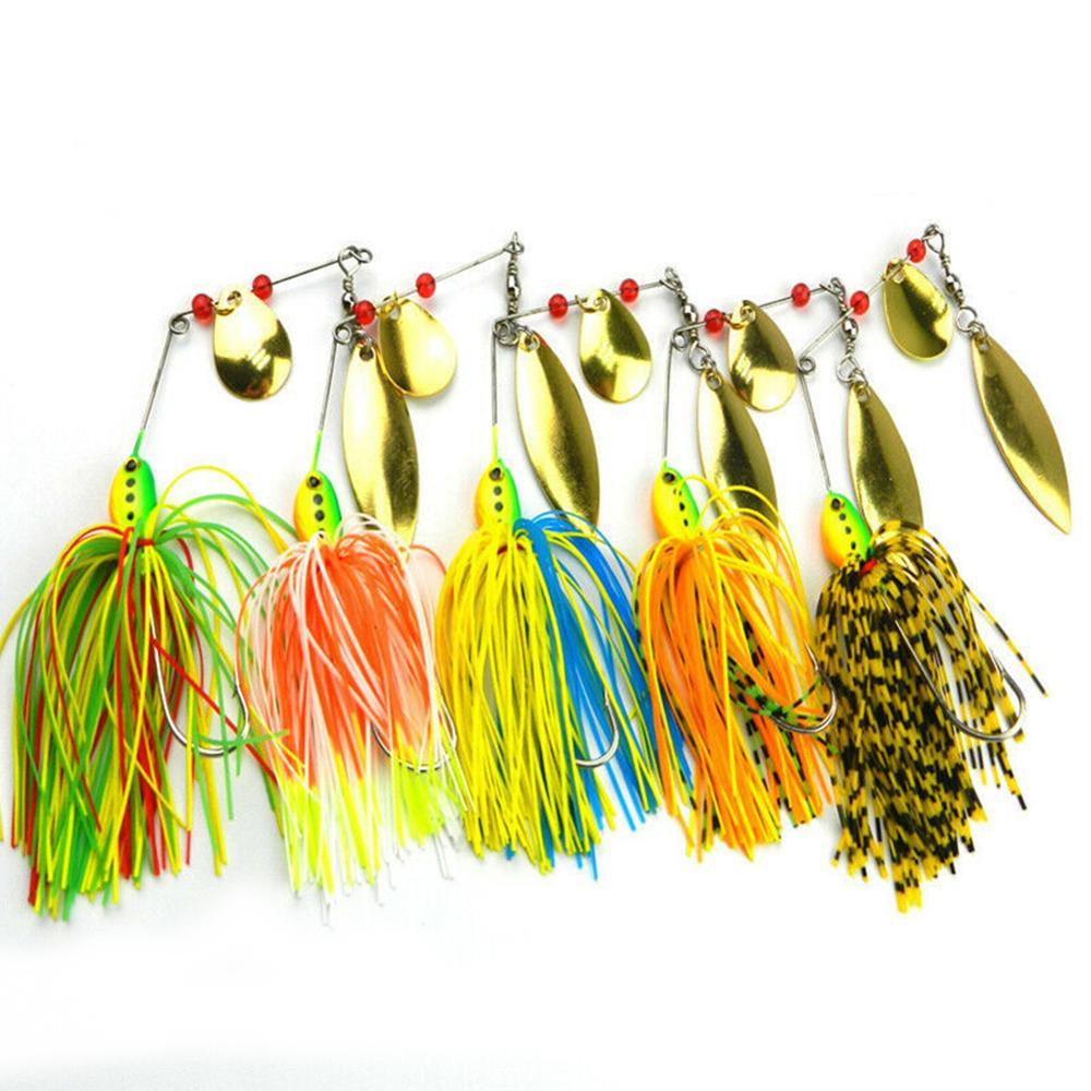 5 peças de barba isca de pesca spinner isca parker baixo isca de pesca spinner gancho falso isca de pesca equipamento