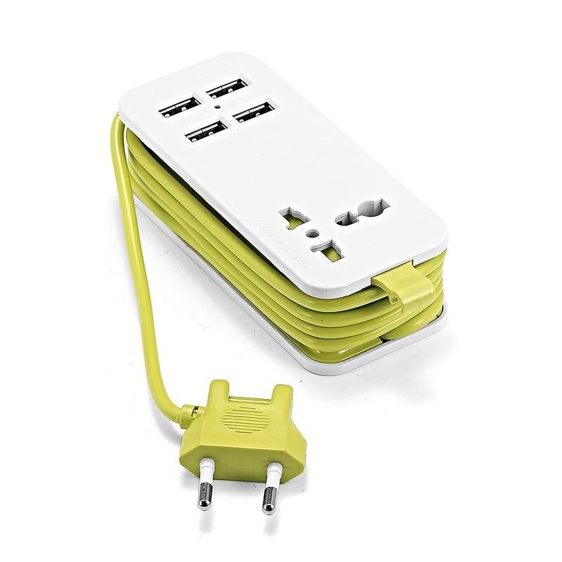 USB Power Streifen EU Europäischen Stecker 1,5 m Verlängerung Buchse Tragbare AC Power Streifen Kabel Mit 2 USB Ausgang Smart ladegerät Wand