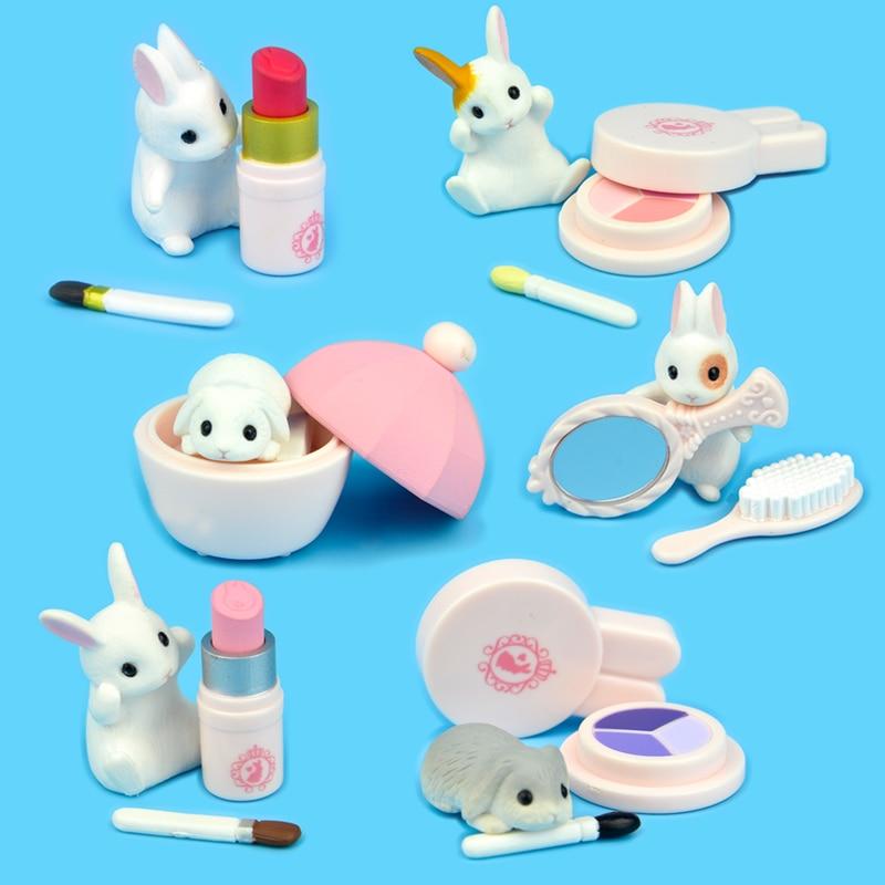 Япония Подлинная капсула игрушка милые животные красота Банни Макияж Губная помада основа миниатюрный гашапон фигурки коллекция подарок