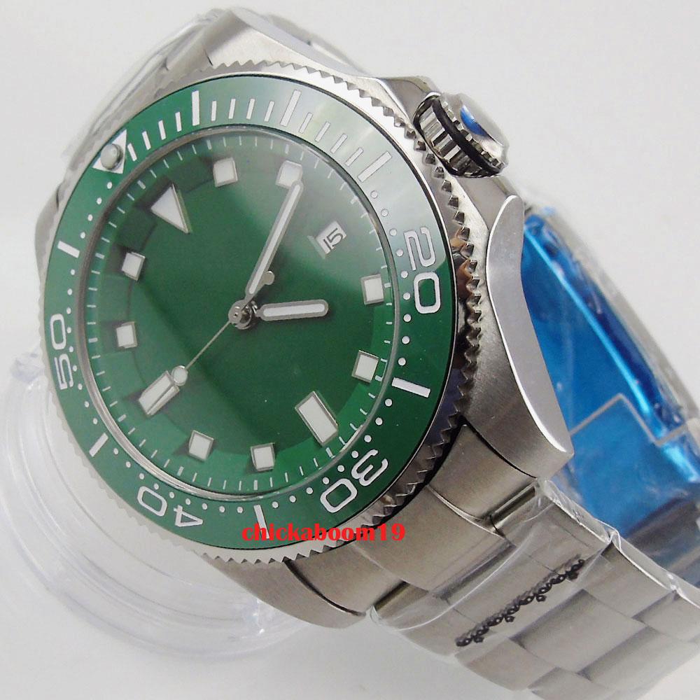 43mm verde estéril dial safira vidro luxo luminoso data cerâmica moldura relógio automático masculino