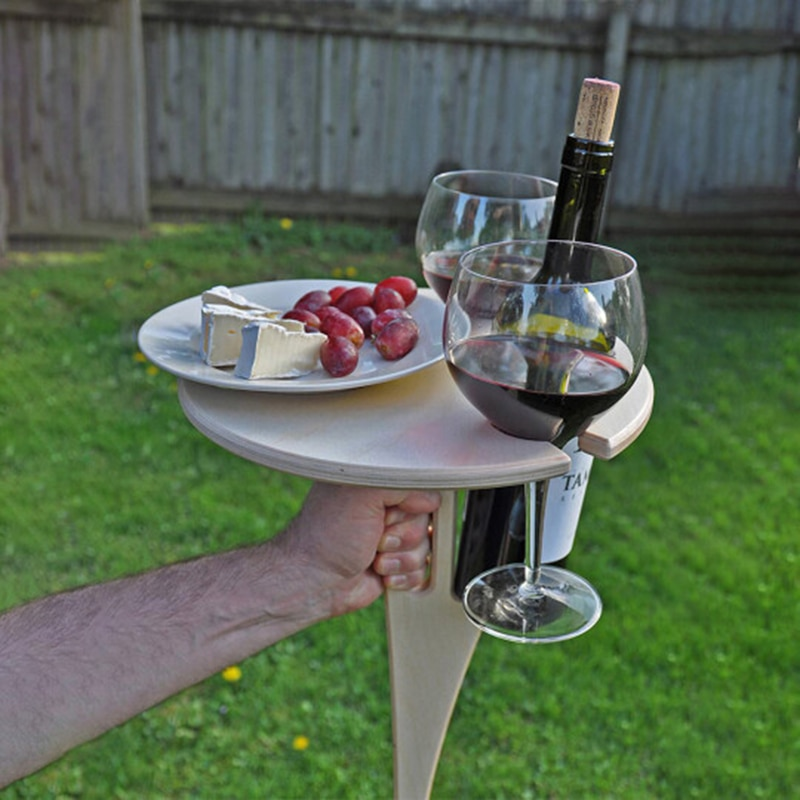Mesa de vino portátil, Mesa Plegable redonda de escritorio, Mini Picnic de madera, fácil de llevar, Mesa de Camping, juegos de muebles de jardín para exteriores