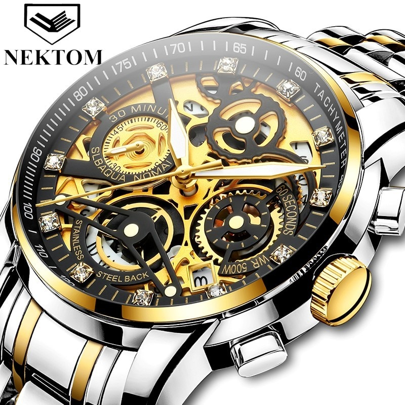 Quartz men watches Luxury Watch male Top Brand Fashion sport Relojes Hombre Gold Wristwatch Relogio