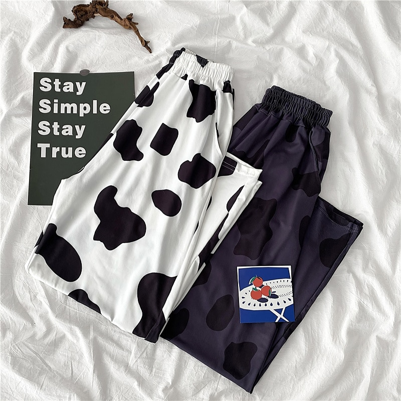 High Waist Wide Leg Drape Women's Casual Pants Korean Style Small Loose Internet Hot Cows Pattern Cr