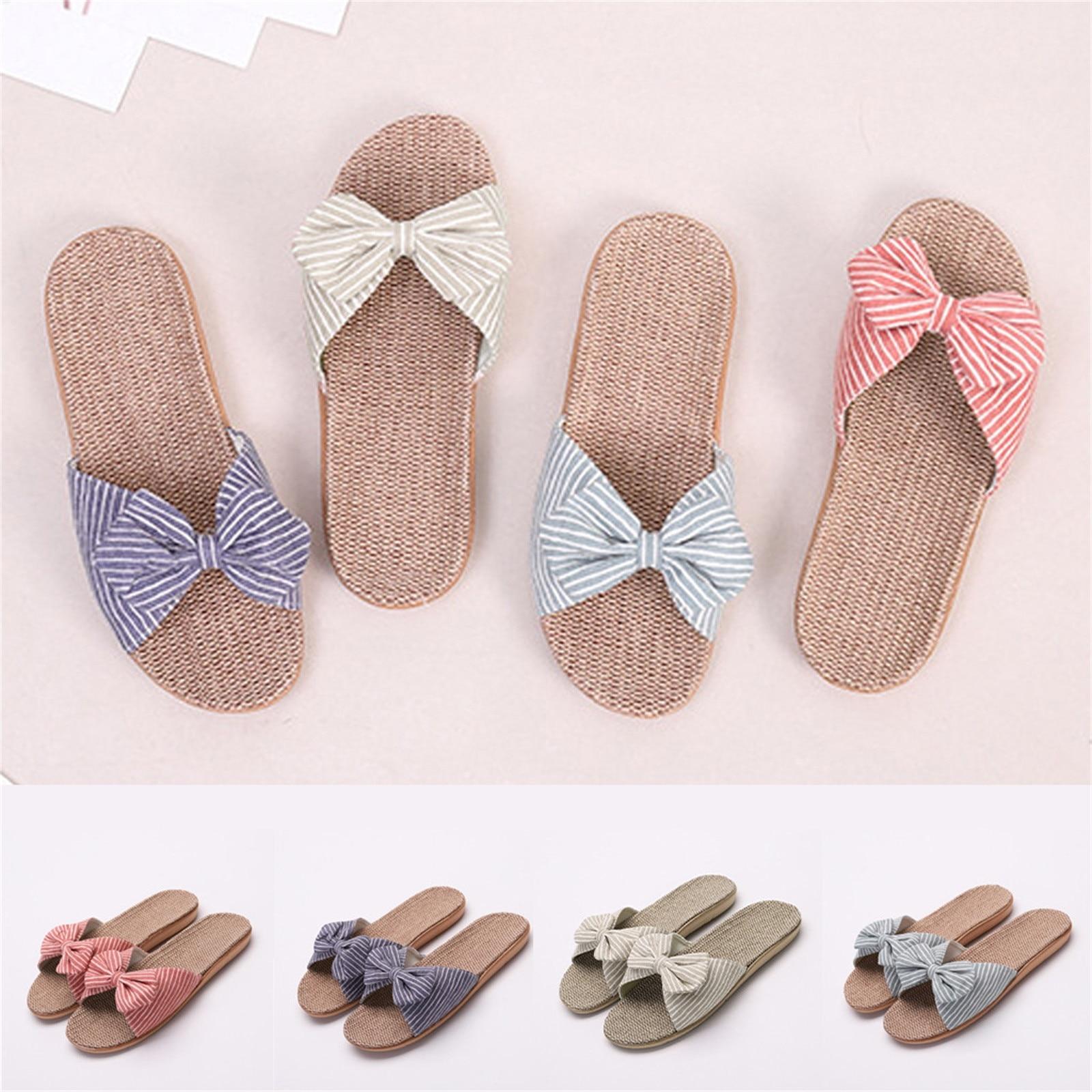 Women Female Bowknot Flax Linen Flip Flops Beach Shoes Sandals Slippers босоножки женс�