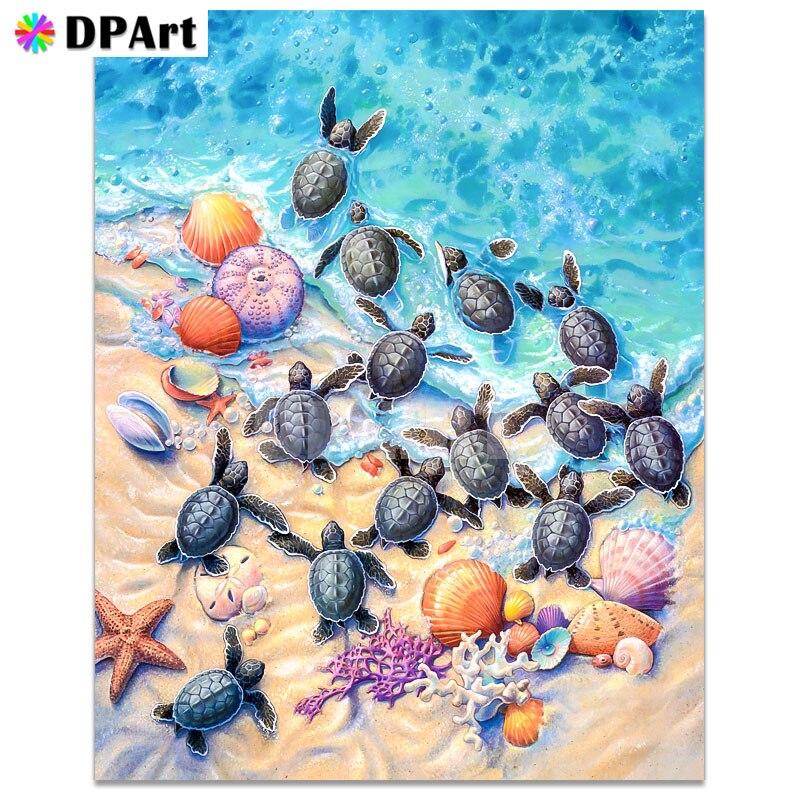 Pintura diamante quadrado completo/broca redonda praia pequena tartaruga estrela do mar daimond bordado kit ponto cruz strass presente zou360