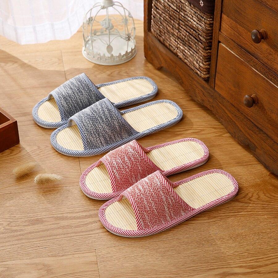 Домашние тапочки из конопли, бамбуковые стельки для мужчин, Модные осенние домашние тапочки больших размеров для пар, домашние тапочки из п...