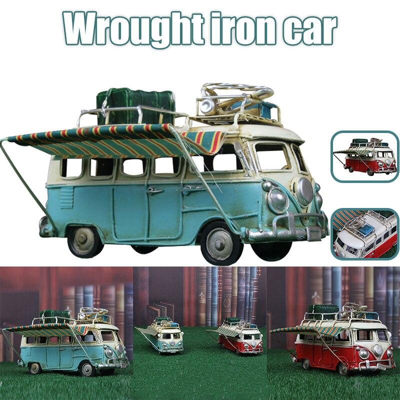 Maqueta de coche de Metal Vintage, caravana, furgoneta de juguete, simulación de limusina, playa, autobús, decoración del hogar para estante de escritorio, salón de decoración