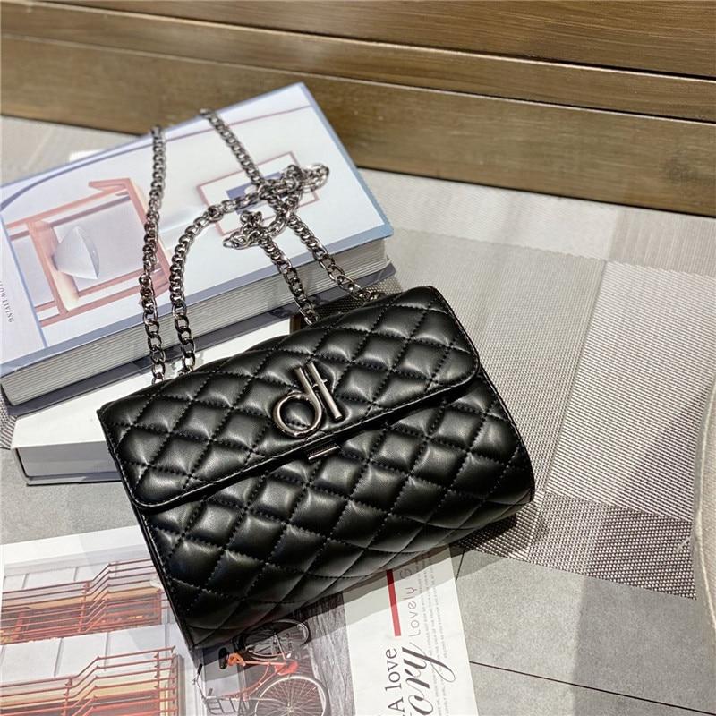 2020 New Luxury Fashion Genuine Leather Small Square Bags Diamond Lattice Chain Shoulder Messenger Bags Women Purse and Handbags