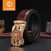 Men Genuine Leather Belts Brand Luxury Stone Pattern High Quality Business Work Automatic Buckle Belts for Men ZD121