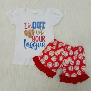 Girls' Clothing Sets Spring Summer Girls Baseball Short Sleeve Top Ruffle Shorts Childrens Clothing Kids Outfit Baby Outfits