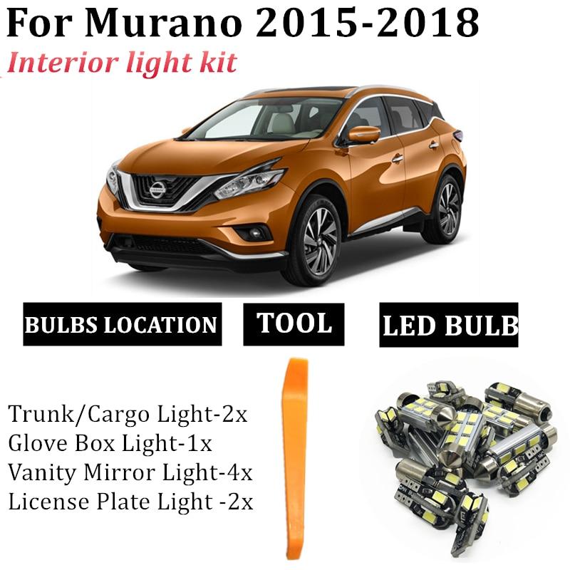 10x Автомобильный светодиодный купольный светильник, карта салона, комплект, подходит для Nissan Murano 2015 2016 2017 2018, багажник, грузовой, зеркальный, ...