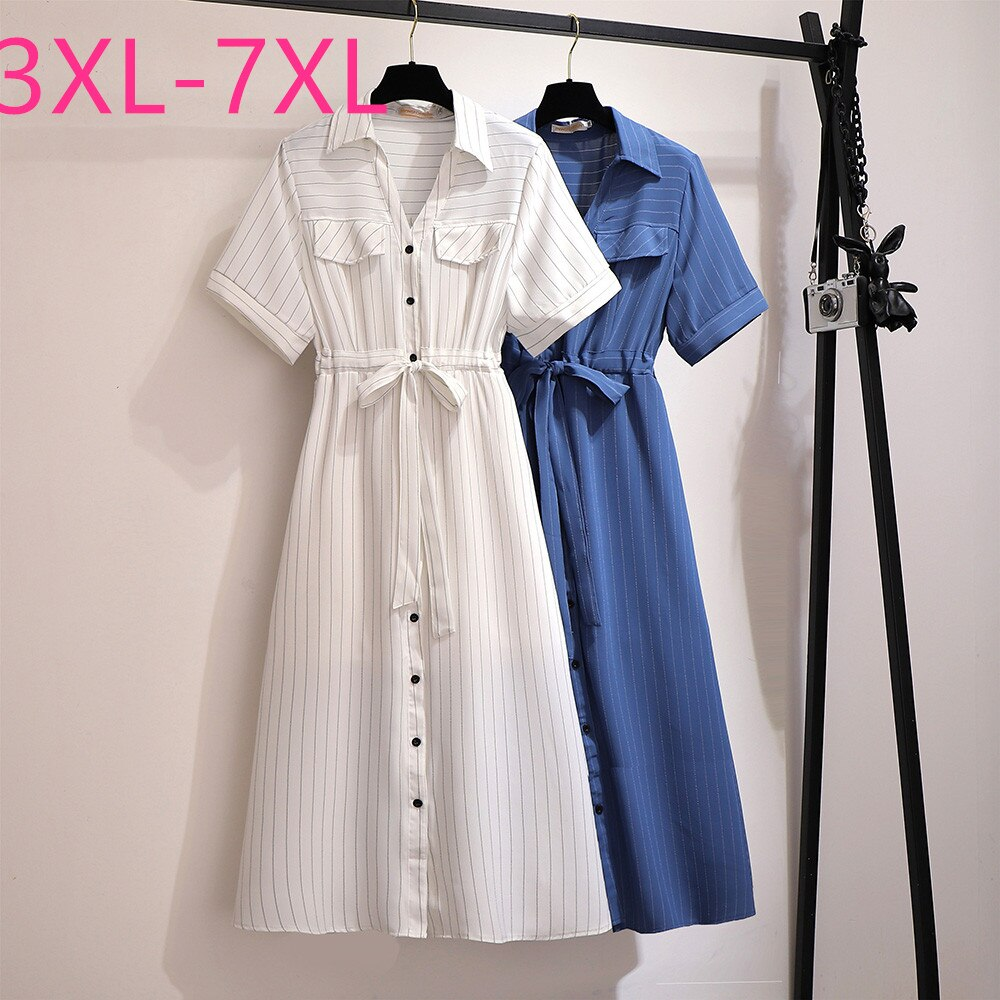 New summer plus size shirt dress for women large short sleeve loose blue white stripe V neck long dress belt 3XL 4XL 5XL 6XL 7XL